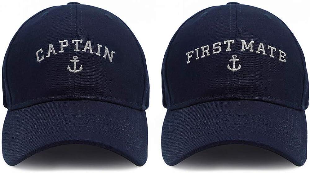 Captain Hat & First Mate | Matching Skipper Boating Baseball Caps | Nautical Navy Marine Sailor Hats