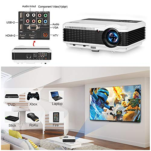EUG LCD Digital HD Video Projector 1080P Support 1280x800 Native Wxga 4600 Lumen Multimedia Home Theater TV Projectors Indoor Outdoor, HDMI/USB/VGA/Ypbpr/RCA Audio/Zoom/Keystone/Speakers