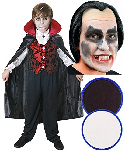 Boys Girls Vampire Dracula Halloween Fancy Dress with Face Paint + Wig Age 10-12 -