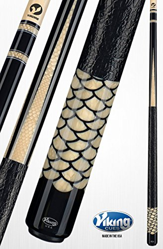 (Viking A821 Pool Cue Stick 80 Snake Juma Inlays and Rings | West African Ebony | Gator Embossed Leather Wrap Quick Release Joint ViKORE Shaft 18 - 21 oz. (19))