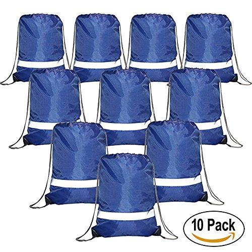 Drawstring Backpack Bags Reflective 10 Pack, Promotional Sport Gym Sack Cinch Bag