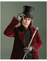 Johnny Depp as Willy Wonka Tipping Top Hat with a Smile 8 x 10 Inch Photo