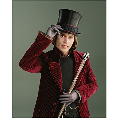 Johnny Depp as Willy Wonka Tipping Top Hat with a Smile 8 x 10 Inch Photo (Willy Wonka Photos)