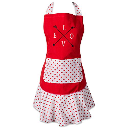 DII 100% Cotton, Ruffle Kitchen Chef Apron, Adjustable Neck and Waist Ties, Front Pocket, Perfect for Cooking, Baking, Crafting & More-Love Struck