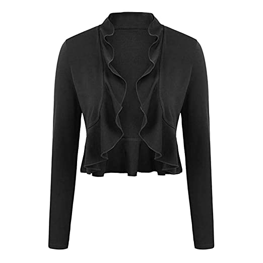 Baigoods Womens Open Front Cropped Dressy Long Sleeve Cardigan