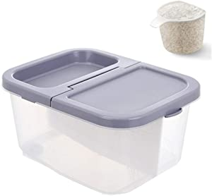 Ketop 2 grids Airtight Food Storage Container with Wheels Rice Storage Bin with Measuring Cup Cereal Container for Flour Dry Food Kitchen Pantry Organization