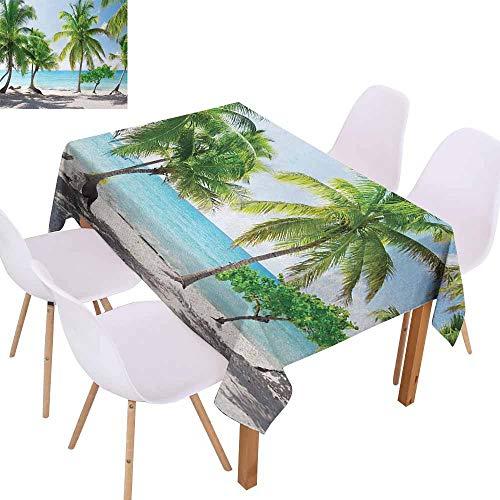 UHOO2018 Beach,Burgundy Table Cloth,Palm Leaves in Catalina Island Dominic Seashore Coastal Panoramic Picture,for Wedding/Banquet/Restaurant,Green Aqua Coconut,60