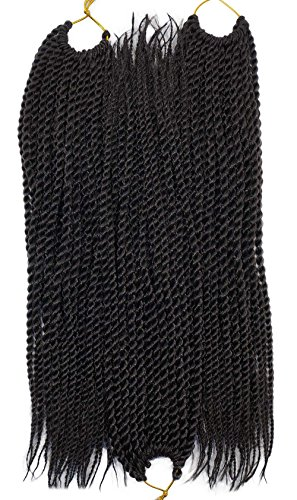 Twist Thin (3Packs/Lot Thin Senegalese Twist Braids Hair 12inch 30strands/pack 50gram/pc Ombre #Black Color Synthetic Fiber Crochet twisting Braiding Hair Extensions)