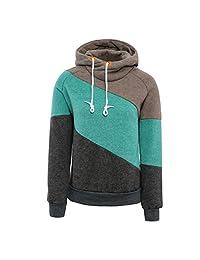 ForeMode Women Hoodies Long Sleeve Splice 3 Color Hooded Sweatshirt