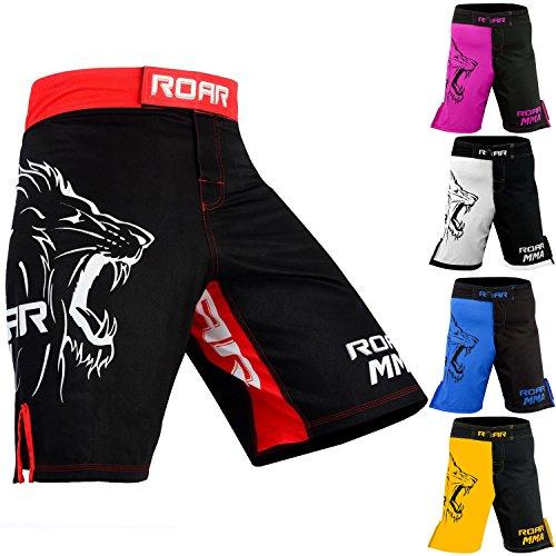 (Roar MMA Boxing Shorts Mixed Martial Art Muay Thai BJJ Grappling UFC Fighting (XLarge, Red/Blk))