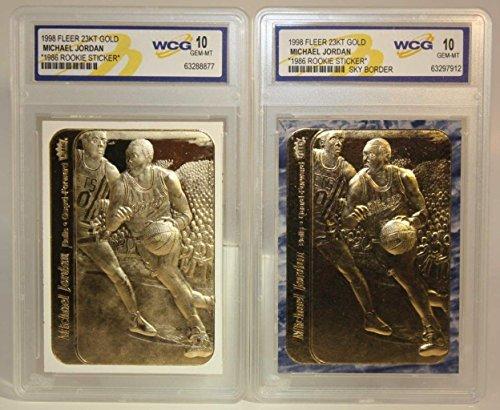 (2) Michael Jordan 1986 Fleer 23KT Gold GEM MT-10 Rookie Card LOT! Rare Blue & White Border!