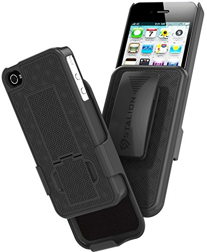 iPhone 4 4S Holster: Stalion Secure Shell Case & Belt Clilp Combo with Kickstand (Jet Black) 180° Degree Rotating Locking Swivel + Shockproof Protection (Iphone 4s Case With Kickstand And Holster)