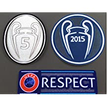 Uefa Champion League Respect and Trophy 5 Silver Set Badge Patch Iron on Soccer Jersey for Barcelona 2015-16...