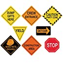 Traffic Signs Cutouts Construction Birthday Party Supplies for Boys Set of 8