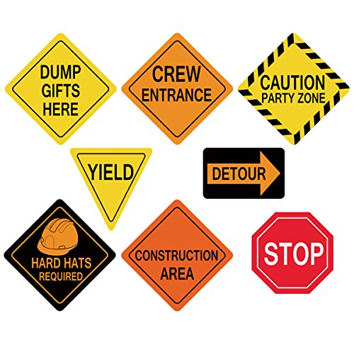 ceiba tree Traffic Signs Cutouts for Construction Themed Birthday Party Decorations for Boys Set of 8 -