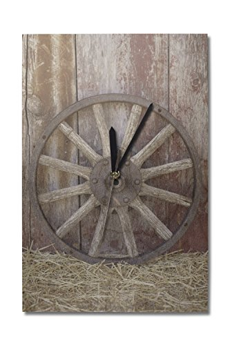 Wagon Wheel Clock (Lantern Press Wagon Wheel (10x15 Wood Wall Clock, Decor Ready to)