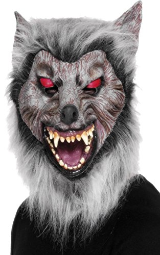 Smiffys Unisex Wolf Mask, Grey One Size, -