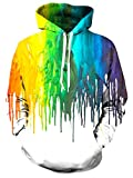 Unisex White Paint Fleece Hoodie 3D Print Rainbow Graffiti Drip Cool Pullover Hooded Sweatshirt