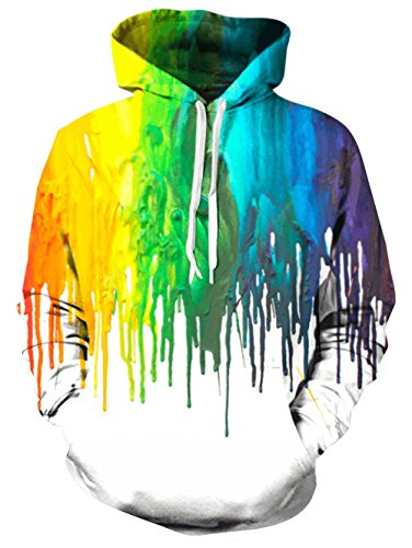 RAISEVERN Men's Multicolor Melting Paint Hoodies Autumn Fleece Hooded Sweater Sweatshirt Melting Paint XX-Large,2016 Style 01