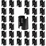 Gizhome 64 Pack/32 Pairs Wire Shelf Clips Plastic Split Sleeves Lock for 1 inch Diameter Post Shelving Sleeves, Black