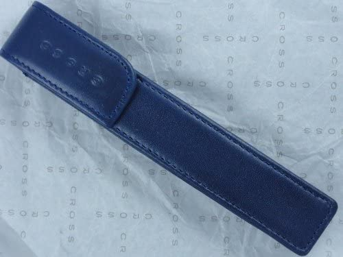 Cross Full Grain Italian Leather, Signature Perforated Detailing, Single Magnetic Flip Top Pen Pouch, Blue and Can Accommodate any Cross Pen