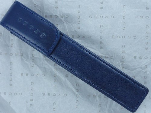 Cross Full Grain Italian Leather, Signature Perforated Detailing, Single Magnetic Flip Top Pen Pouch, Blue and Can Accommodate any Cross Pen by CROSS