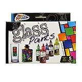 Glass Paints - Box of 5 Assorted Paints - Vibrant Colours