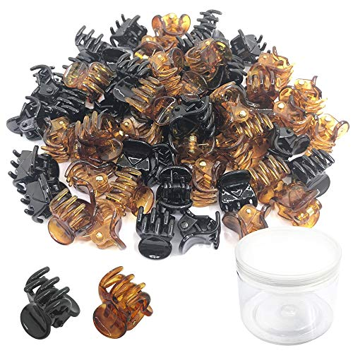 (60 Packs Mini Hair Clips, Yucool Plastic Claw Pins Clamps for Toddlers,Girls and Women-Black and Brown)