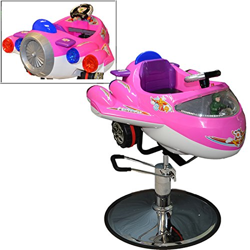 LCL Beauty Childrens Pink Airplane Hydraulic Child Kid's Barber Styling Chair Salon Beauty - Barber Car Kids Chair