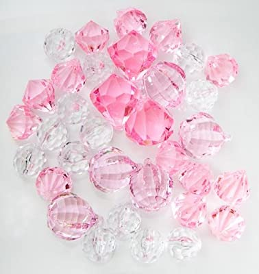 Translucent Clear, & Pink Assorted Shaped Acrylic Gems For Vase Filler, Table Scatters Or Decorations