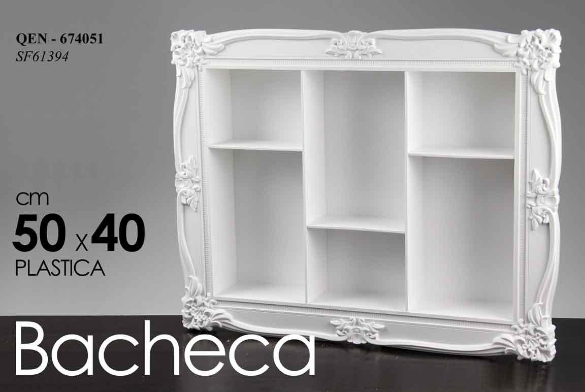BACHECA RETTANGOLARE BIANCA VARI RIPIANI PLASTICA 50X 40 CM