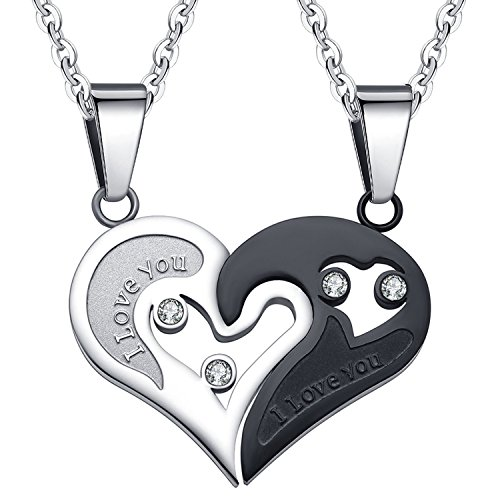 SHINYSO Stainless Steel Mens Womens Couple Pendant Necklace Love Heart CZ I Love You Puzzle Matching