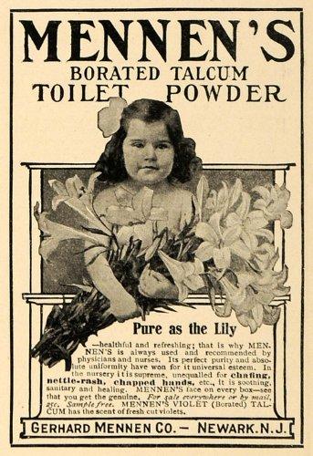 1906 Ad Lily Child Mennen Borated Talcum Toilet Powder - Original Print Ad