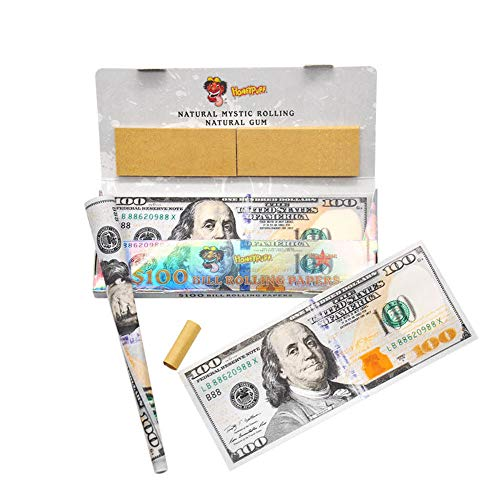 Satelliter Fake Money, Rolling Papers with Filter Tips, Wallets of Cigarette Rolling Papers 110 * 45MM(2 Wallet) (Money Rolling Papers)