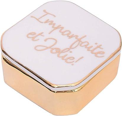 P Prettyia Mini Recipiente de Ceramica Caja de Almacenamiento de Joyas para Pendientes Anillos - Blanco: Amazon.es: Joyería