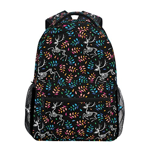 Deer Skeletons Printed Casual Laptop Backpack College School Bag Travel Daypack
