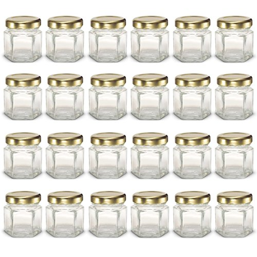 PremiumVials 24 pcs, 1.5 oz Mini Hexagon Glass Jars with Gold Lids, Wedding Favors, Shower Favors, Baby Foods, Canning, spices, Half Pint (24, 1.5 oz Hex w/Gold Lids)