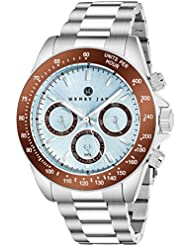 Henry Jay Mens Stainless Steel Multifunction Specialty Aquamaster Watch with GMT-Day-Date and Tachymeter Display