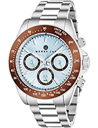 "Mens Stainless Steel Multifunction ""Specialty Aquamaster"" Watch with GMT-Day-Date and Tachymeter Display"