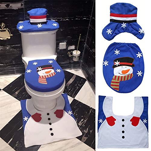 SUKEQ 3 Piece Snowman Santa Snowflake Toilet Seat and Rug Lid Cover Set Christmas Decoration Bathroom (Snowman) ()