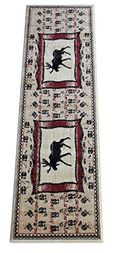 Masada Rugs Cabin Cabin Runner Area Rug With Moose Image (2 Feet 2 Inch X 7 Feet 2 (Clipart Cottage)