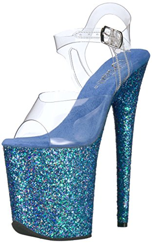 Pleaser Flamingo Clr blue Holo Sandal 808LG glitter clr holo Blue Women's Glitter rpnFBr