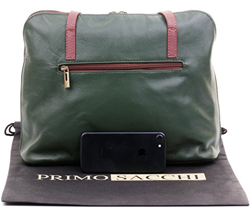 Sacchi Branded Handled A Storage Soft amp; Primo Bag Shoulder Leather Protective Includes Green Italian Brown Large Handbag Long 4wY7dwF