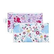 Bumkins Reusable Snack Bag Small 2 Pack, Disney, Princess (Ariel/Cinderella)