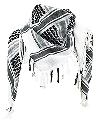 WOLMIK 100% Cotton Military Shemagh Tactical Desert Keffiyeh Head Neck Scarf Wrap