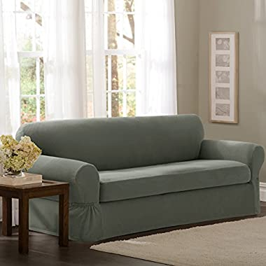 Maytex Pixel Stretch 2-Piece Sofa Slipcover, Dark Olive