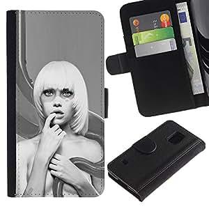 Ihec-Tech / Flip PU Cuero Cover Case para Samsung Galaxy S5 V SM-G900 - Abstract Blonde Woman