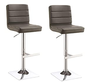 Adjustable Upholstered Bar Stools Grey and Chrome (Set of 2)