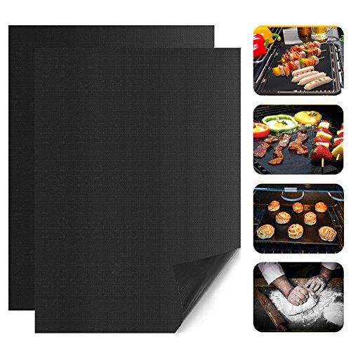BBQ Grill Mat, PAPAYAY Non-stick Grill Mats, Barbecue Utensil for Gas, Charcoal, Electric Grills, Set of 2, 13 x15.75 Inches ()