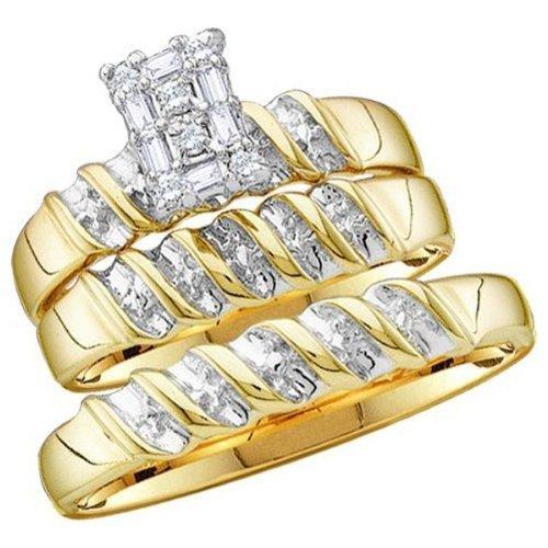 005-Carat-ctw-10K-Gold-Round-Diamond-Men-Ladies-Trio-Set